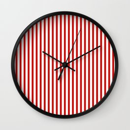 Red & White Maritime Vertical Small Stripes - Mix & Match with Simplicity of Life Wall Clock