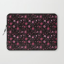 Pink and black floral with wild roses Laptop Sleeve