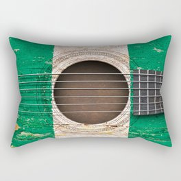 Old Vintage Acoustic Guitar with Nigerian Flag Rectangular Pillow