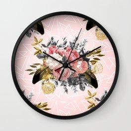 Romantic vintage roses and geometric design Wall Clock
