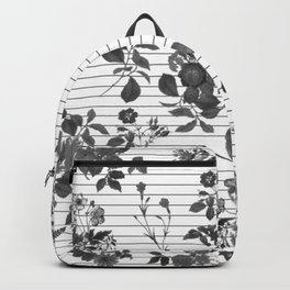 Black and White Floral on Stripes Backpack