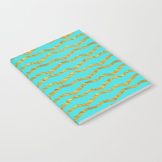 Golden waves - Abstract geometrical pattern on aqua backround Notebook