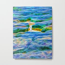 Abstract rock pool in the rough rocks in Queensland Metal Print