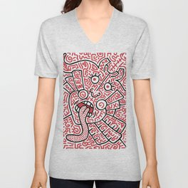 """""""The Face"""" - inspired by Keith Haring v. red Unisex V-Neck"""