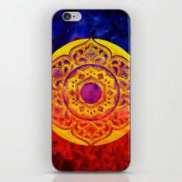 """SACRED GEOMETRY"" WATERCOLOR MANDALA (HAND PAINTED) BY ILSE QUEZADA iPhone Skin"