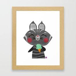 Ice Cream Cat Framed Art Print