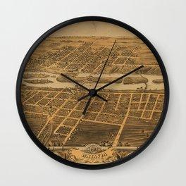 Bird's eye view of Batavia, Kane County, Illinois (1869) Wall Clock