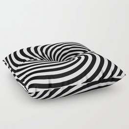 Black And White Op Art Spiral Floor Pillow