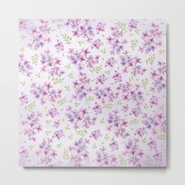 Little Purple and Pink Flowers Metal Print