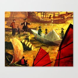 Paper boat in the harbour of Shangai. Illustration for kids Canvas Print