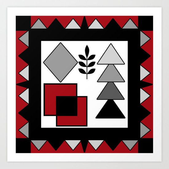 Ethnic pattern in red-black-white colors Art Print