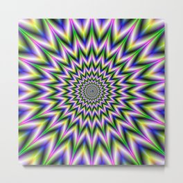 Spiky Pulse in Green Yellow Blue and Pink Metal Print
