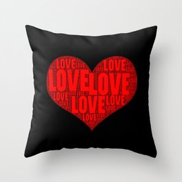 Heart shape with text love inside Throw Pillow