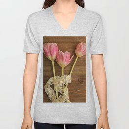 Pink Tulips Flatlay Unisex V-Neck