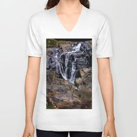 puerto rico V-neck T-shirts featuring Diego's Salcedo Waterfall Puerto Rico by Ricardo Patino