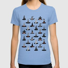 Halloween Witch Hats on Purpple T-shirt