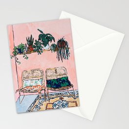 Two Chairs and a Napping Ginger Cat Stationery Cards