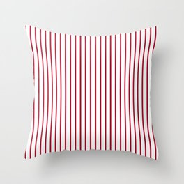 Royal Red Rose Pinstripe on White Throw Pillow