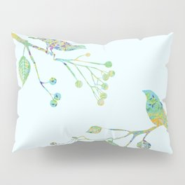 Birds on Branches Love Bird Couple Vintage Floral Pattern Green Yellow Blue Pillow Sham