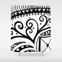 zentangle Shower Curtains featuring Zentangle by Wealie