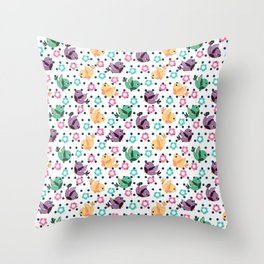 Freely Birds Flying - Fly Away Version 3 - Denim Dots Color Throw Pillow