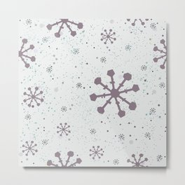 Winter Pattern with subtle snowflakes on white background with tiny dots Metal Print