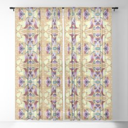 Leaf pattern 2d Sheer Curtain