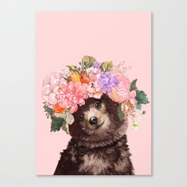 Baby Bear with Flowers Crown Canvas Print
