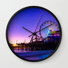 Santa Monica purple sunset Wall Clock