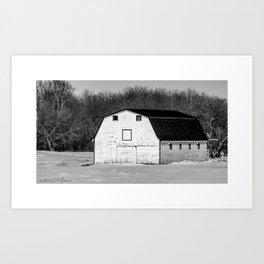 White Hip Roof Barn in Winter Art Print