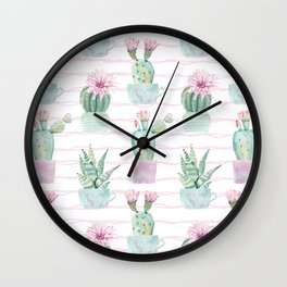 Simply Echeveria Cactus on Desert Rose Pink Wavy Lines Wall Clock