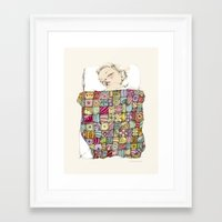 child Framed Art Prints featuring sleeping child by Cecilia Sánchez