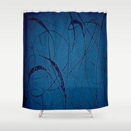 Navy Blue - Jackson Pollock Style - Famous Artists - Abstract Painters - Modern Art - Corbin Henry Shower Curtain