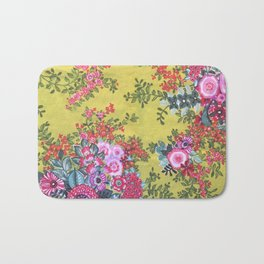 Green Nature, Pink Flowers and Happiness Bath Mat