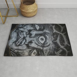 Mural graffiti of two faces that merge with a crown of thorns Rug
