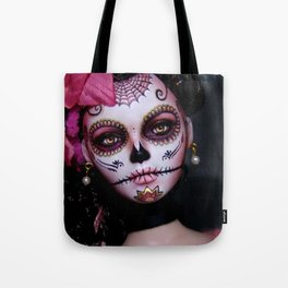 Mexican Hibiscus Day of the Dead Skull Tote Bag