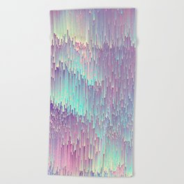 Iridescent Glitches Beach Towel