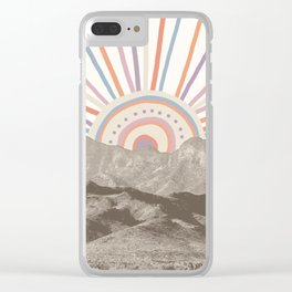 Summerlin Mountain Up // Abstract Vintage Mountains Summer Sun Surf Beach Vibe Drawing Happy Wall Ha Clear iPhone Case