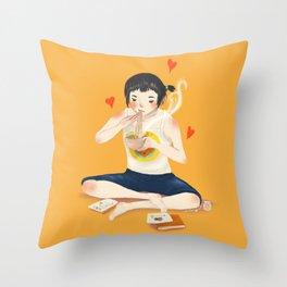 Soba Girl Throw Pillow