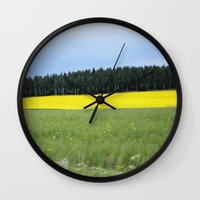 sweden Wall Clocks featuring Sweden by Anya Kubilus