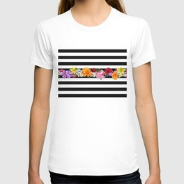 flowers on black and white stripes T-shirt