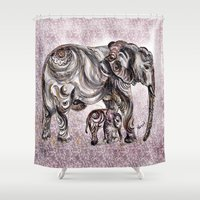 mom Shower Curtains featuring Mom Eephant by Harsh Malik