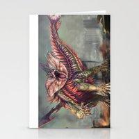 kaiju Stationery Cards featuring Fringehead Kaiju by Rushelle Kucala Art