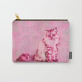 Cute Cat Pink Mixed Media Art Carry-All Pouch