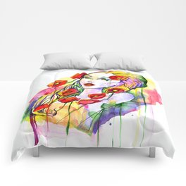 Waterolor beautful girl Comforters
