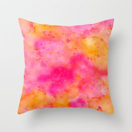 Pink & Orange Watercolor Background Throw Pillow