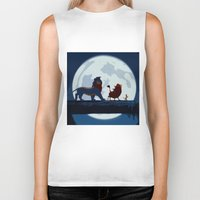 hakuna Biker Tanks featuring Lion King Stylish Painting by Bolin Cradley Art