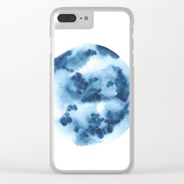 Watercolor Circle Abstract Simple | Blue Blob May 31 Clear iPhone Case