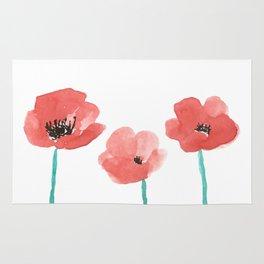 Three Poppies \\ Watercolor Flowers Rug