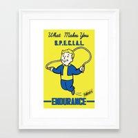 fallout 3 Framed Art Prints featuring Endurance S.P.E.C.I.A.L. Fallout 4 by sgrunfo